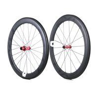 tubular al por mayor-Ruedas de bicicleta de carretera de carbono EVO 60 mm de profundidad 25 mm de ancho carbono completo remachado / juego de ruedas tubular con cubos de tiro recto Personalizable LOGO