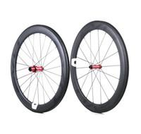 ingrosso le ruote clinchers-Ruote bici da strada in carbonio EVO 60mm profondità 25mm larghezza copertoncino in carbonio / ruote tubolari con mozzi Straight Pull LOGO personalizzabile