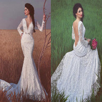 Wholesale Wedding Dress Made Voile - Stunning Lace Deep V-Neckline Mermaid Long Sleeves Wedding Dresses With Belt Open Back Destination Bridal Gowns voile mariage