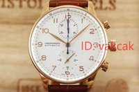 Wholesale Automatic Tachymeter - HOT selling Top quality Luxury Portuguese Chronograph Automatic Mens quartz swiss Watch 371446 Men's Tachymeter Date gold Watches 2017