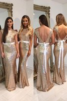 Wholesale Gold Crystal Sash - Long Mermaid Gold Bridesmaid Dresses 2017 Sequin Backless With Sash A Line Chiffon Prom Dress 2017 Crystal Beaded Wedding Party Dresses