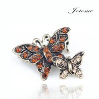 Wholesale Vintage Red Heart Brooch - 100PCS Lot Hot Sale Vintage Alloy Metal Brooch Pins Double Butterfly Shaped Brooches Pin with Rhinestones Spring Summer Pin Wholesale