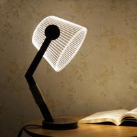 ingrosso lampade di legno fatte a mano-Regali creativi visivi tridimensionali visivi della decorazione dell'occhio del bordo della lampada da tavolo di legno fatta a mano della luce notturna 3D