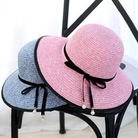 Wholesale Pearl Fund - Australia Straw Hat Korean Pearl Bow Children Sun Visors Mother And Daughter Matching Accessories Fund Summer Girl Sandy Beach Sun Hat