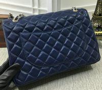 Wholesale Real Fur Handbags - 33cm 58601 High Quality Women Le Boy Chain Black Lambskin Real Caviar Real Leather Jumbo Maxi Shoulder Bag Handbag 33*22*9cm