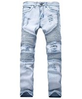 Wholesale Cool Designer Jeans - Men Distressed Ripped Jeans Fashion Designer Straight Motorcycle Biker Jeans Causal Denim Pants Streetwear Style Runway Rock Star Jeans Cool