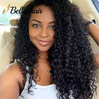 cheveux péruviens bellahair achat en gros de-Perruques de cheveux humains vierges péruviennes pour femmes noires à capuchon moyen avant de lacet perruques de 130% de densité naturelle bouclée Bellahair