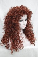 "Wholesale Hair Chestnut - free shipping beautiful charming hot New Fashion new fashion sexy loose curls chestnut brown 24"" long synthetic hair full wig"