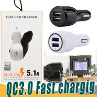 Wholesale 12 24v Usb Car Charger - QC2.0 fast charge 3.1A Qualcomm Quick Charge car charger LED Dual USB Fast Charging phone charger + Cable DC 12-24V