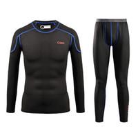 Wholesale Snowboards Jacket Men - Wholesale- Men Quick Dry Thermal Underwear Men Warm Long Johns Men Ski Jacket and Pants For Ski Hiking Snowboard Cycling