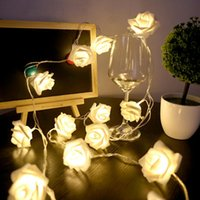 Wholesale Valentine Garland - Wholesale- UISB Power Supply 20 LED Rose Flower Christmas Holiday String Lights for Valentine Wedding party Garland Bedroom Decoration