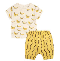 Wholesale Boys Suites - Wholesale Boys Childrens Clothing Sets Banana Short Sleeve tshirts Shorts 2 Pcs Set Summer Streetwear Activewear Kids Clothes Suite