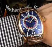 Wholesale Gents Bracelets - 2017 Cheap New High Quality Luxry Brand 8880 VEGAS Edition Blue Dial Automatic Mens Watch Rose Gold Stainless Steel Bracelet Gents Watch