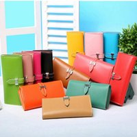 Wholesale korean girl wallets - New Fashion Women Wallets Female Cards Holders Candy Colors PU wallet Coin Purses Girl Long Wallet Lady Wallets