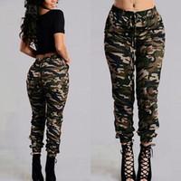 Wholesale Women Plus Size Camouflage Pants - Camouflage Printed Pants Plus Size S-3XL Autumn Army Cargo Pants Women Trousers Military Elastic Waist Pants