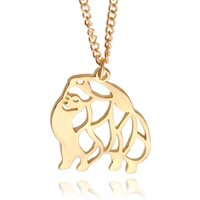 Wholesale Pomeranian Dogs - Cute Puppy Dog Memorial Gift Pomeranian dog Animal Hollow Pendants Necklaces For Women Fashion Jewelry pet lovers gift