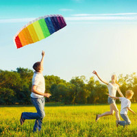Wholesale Power Dual Line Parachute Kite Rainbow Sports Beach Kite m Nylon Flying Lines Parafoil Kite with Control Handle