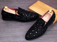 Wholesale Diamond Round Points - 2017 New Dandelion Spikes Flat Leather Shoes Rhinestone Fashion Mens Loafers Dress Shoes Slip On Casual Diamond Pointed Toe Shoes,size38-43