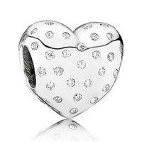 Wholesale Diy Glass Bangles - Authentic 925 Sterling Silver Bead Charm Sparkle Love Heart With Crystal Beads Fit Women Pandora Bracelet Bangle DIY Jewelry HKA3179