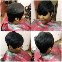 Wholesale Celebrity Real Hair Wigs - 2017 New Pixie Cut cheap Real Hair Wig Rihanna Black Short Cut Wigs For Black Women African American Celebrity Wigs Hot Sale