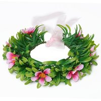 Wholesale Head Party Supply - Girls Moana Garland Kids Cartoon Head Accessories Children Adult Floral flower Hoop beach Headwear Moana Party Supplies free shipping