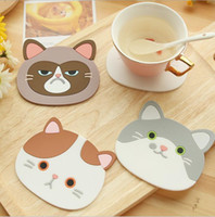 Wholesale Pot Cups - Silicone Cup Mat Pad Cute Cartoon Cat Coffee Drink Cup Placemat Beverage Pot Pan Holder Pad Kitchen Supplies Coffee Cup Mug Drink Pads