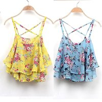Wholesale Spaghetti Tank Top - Wholesale- New Fashion Summer Vest Casual Chiffon Sexy Tank Tops Women Summer Floral Print Spaghetti Strap Double Chiffon Tops Shirt blusas