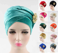 Wholesale Tie Dyed Scarves - NEW luxury women hijab velvet Turban Head Wrap Extra Long velour tube indian Headwrap Scarf Tie with pearl bowknot brooch