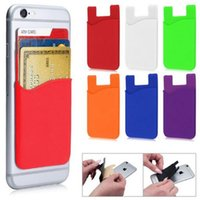 Wholesale Wholesale Handbag Wallet Sets - Ultra-slim Self Adhesive Credit Card Wallet Card Set Card Holder for All Smartphones iPhone multicolor