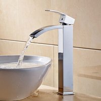 Wholesale Bathroom Tall Basin Vessel Sinks Mixer Faucet Tap Chrome Countertop Waterfall