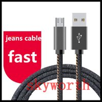 Wholesale Cloth Iphone Cable - Jean Cloth Micro USB cable 1M 3ft 20CM 2A Fast charging V8 Data cables for Samsung Galaxy Smartphone S7 edge S6
