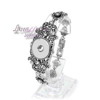 Wholesale Carved Christmas Set - high quality 141 Carved Fashion Full of crystal Snap Button Bracelet Interchangeable Charm Jewelry For Women Men(Fit 18mm snap )