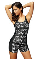Wholesale Floral Tankini - Newest 2017 Sexy Summer Woman Beach bathing suit Black Round Neck Flower Print Tankini Bathing Suit Bikini