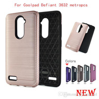 Wholesale Mars Bags - Hybrid Armor carbon fiber 2 in 1 Case For Coolpad Defiant 3632 metropcs 3632A Hybrid Brushed Metal Mars Defender with opp bags D