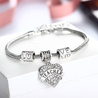 Wholesale Teachers Day Gifts Wholesale - HOPE Bangle, NURSE Charm Bracelet, TEACHER Heart Charm Bracelet ,Sister Heart Charm Bracelet,Mothers Gift