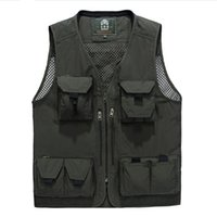 Wholesale Camera Man Vest - Wholesale- New Arrival Multifunctional Camera Vest Outwear Men's Clothes Travels Vests With Multiple Pockets Sleeveless Jacket M-4XL 80 D