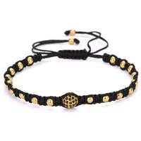Wholesale 8mm cz bracelet online - European Anil Arjandas Men Bracelet K Gold Plated Beads mm Micro Pave Black CZ Beads Weaving Braided Macrame Bracelet