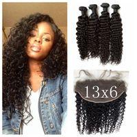 Wholesale Brazilian Weave Closure Piece - 13x6 Deep Wave Lace Frontal Closure With 4pcs Human Hair Bundles Virgin Brazilian Deep Curly Hair Weave G-EASY