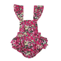 Wholesale Leopard Suspenders - Baby Romper summer toddler kids printed romper toddler cotton falbala BOW suspender jumpsuit babies clothing babies climb suit T0604