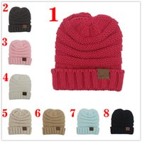 Wholesale Kids Checked Cap - For Kid hat CC Trendy Warm Oversized Chunky Soft Oversized Cable Knit Slouchy Beanie 12 color