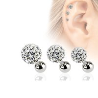 Wholesale nails studs online - 3 mm Crystal Ball Ear Helix Tragus Cartilage Piercings Stainless Steel Bone Barbell Nail Stud Earrings Body Jewelry Set Pairs