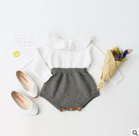 Wholesale Infant Toddler Bodysuit Romper - Knitted Baby Romper 2017 FALL Ins Clothes Patchwork Jumpsuits Romper Jumpsuit Baby Onesies Unisex Jumpsuit Toddler Infant Outwear Bodysuit