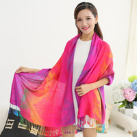 Wholesale Nepal Scarfs - The spring and autumn color Nepal folk style cotton tassel long scarf factory direct summer sunscreen shawl female air conditioning