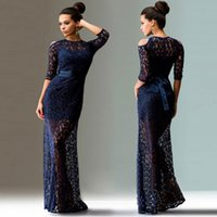 Wholesale Slim Fit Maxi Dresses - 2017 Fashion High Quingity Sexy Lace Women's Clothing European Sexy Lace Slim Fit Evening Party Long Dresses wedding Wholesale full dress