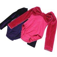 Wholesale Dance Rompers - Children princess Rompers Girls pleuche pure color dancing clothes Kids long sleeve bows jumpsuit Children fashion clothing C1649