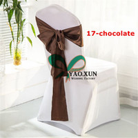 Wholesale Spandex Chocolate Chair Covers Wholesale - White Spandex Chair Covers + Chocolate Color Satin Chair Sash Free Shipping