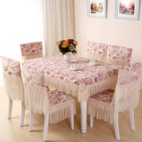 Wholesale Polyester Rectangle Tablecloths - Lace floral photo printing cotton tablecloth set suit rectangle table cloth matching chair cover set soft touch free ship