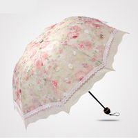 Wholesale Embroidery Umbrella - hot sell 2017 Embroidery fabric shade sun umbrella beautiful women middle size umbrella female parasol creative leach umbrella
