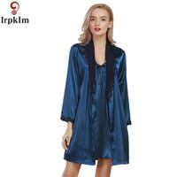 Wholesale Satin Night Suits - Wholesale- Women Robe Gown Set 2017 Fashion Faux Silk Navy Pink Robe Femme Satin Sleepwear Home Suit Night Sleep 2 pcs Bathrobe Set SY26