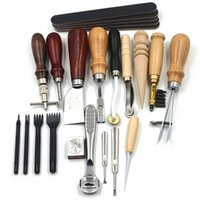 Al por mayor-18pcs Leather Craft Punch Kit de herramientas Costura Tallado de costura de trabajo Saddle Groover